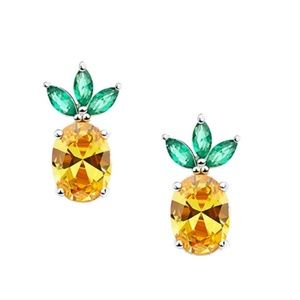 Sparkling Yellow Emerald Crystal Vintage Earrings